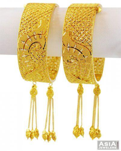 22k Wide Gold Filigree Kadas