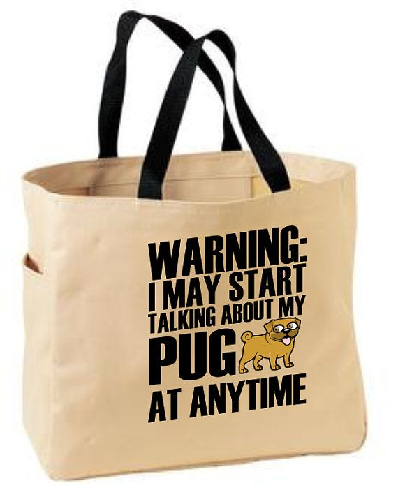 A pudgy little pug always makes us smile! What a gift this this tote bag makes!