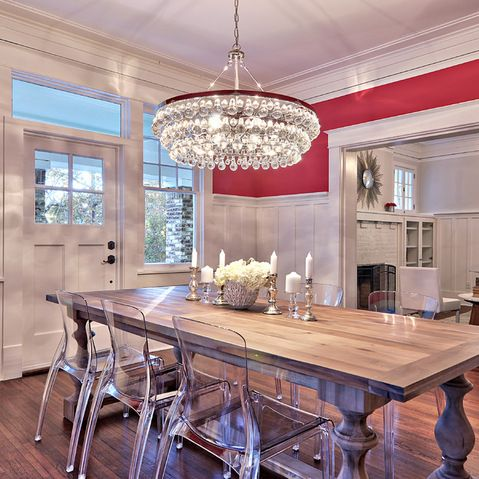 This Robert Abbey Chandelier Adds A Bit Of Modern Glamour To This Otherwise Casual  Dining Space