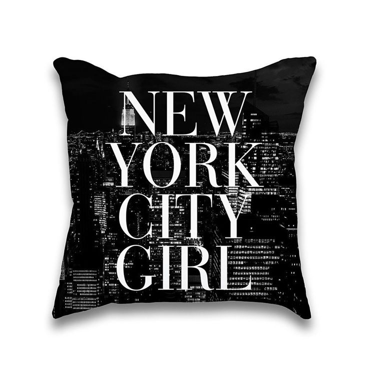 New York City Girl NYC Skyline Pink Print Throw Pillow. Our rad throw pillows are made, cut and sewn in LA and hand printed locally using state of the art equipment. The pillowcase dimensions are 18x1