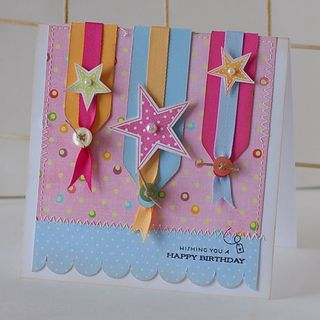 Cute ideas!: Ribbons Techniques, Cards Ideas, Happyness Birthday Stars Banne, Cute Ideas, Birthday Cards, Ribbons Ideas, Happy Birthday Stars Banne, Banners G, Ribbons Pennant