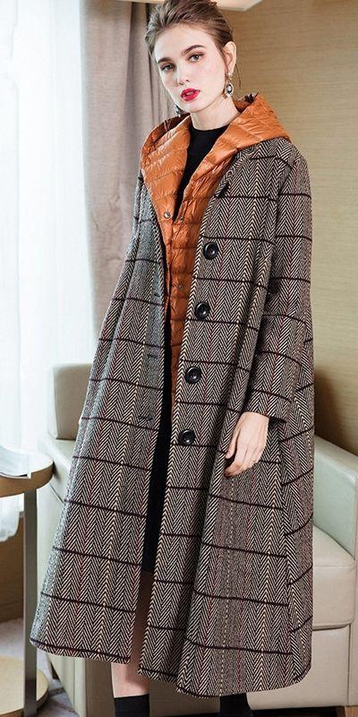 Eleganter Frauen-zweiteiliger beiläufiger karierter Mantel mit dünnem Daunenmantel 3845-1