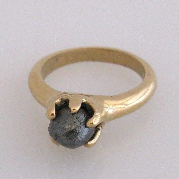 5 karat black rough diamond in gold ring by maidstonejewelry, $1450.00