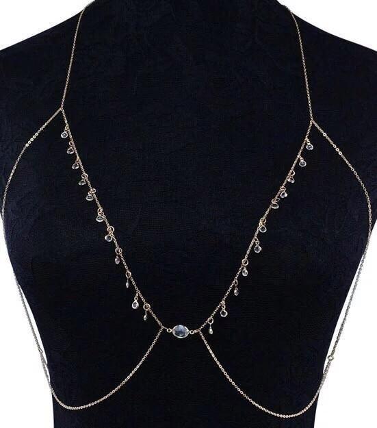 Chain Bralette gold Body Chains rhinestones Boho Chic