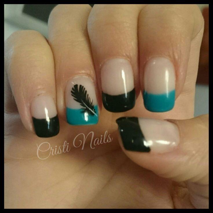 Nails francesa negro y turquesa