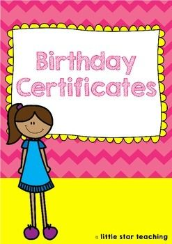 Birthday Certificates:Who doesn't love a birthday certificate? When I was at school, getting a birthday certificate was one of my favourite things about celebrating my birthday at school. Here, you can print off these super bright and colourful birthday certificates for your students!I print these birthday certificates onto white cardstock (2 per page - if you want to save on paper for your birthday certificates) and then cut and laminate them before presenting each child with their birthday…