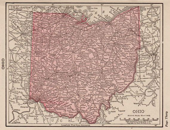 Antique Ohio Map Pretty Small Map Of Ohio State By Plaindealing