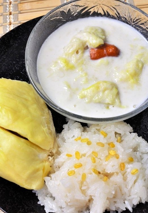 Durian and sticky rice in coconut milk. Thai dessert