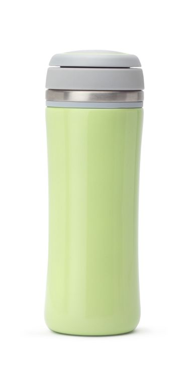 Keep your tea hot for hours with this bright lime, leakproof travel mug.