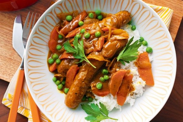 Curried sausages main image