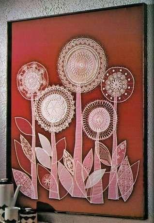 Composición de flores en ganchillo