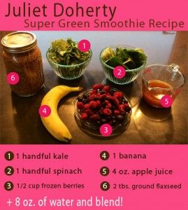 Check out this #energyboost #supergreen smoothie recipe from Juliet Doherty (San Francisco Ballet School, First Postition,) #Julietdoherty: Smoothie Recipe, Healthy Food