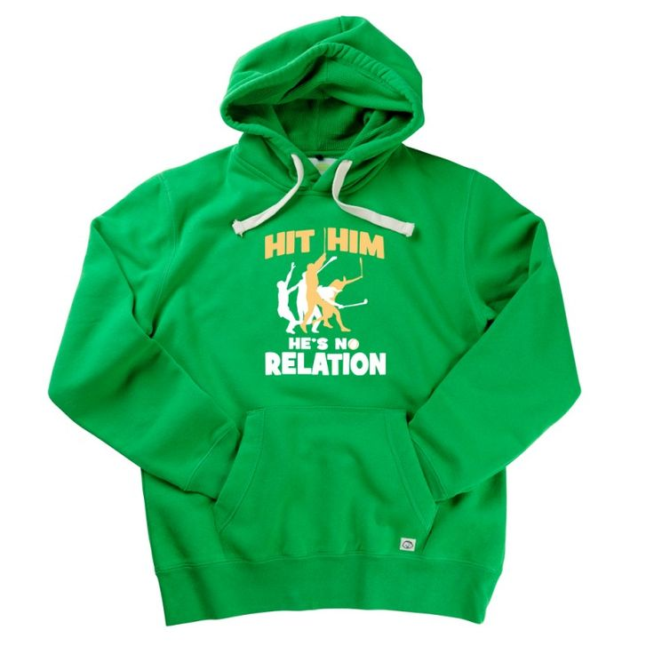 Hit Him, He's No Relation Gent's Hoodie by Hairy Baby