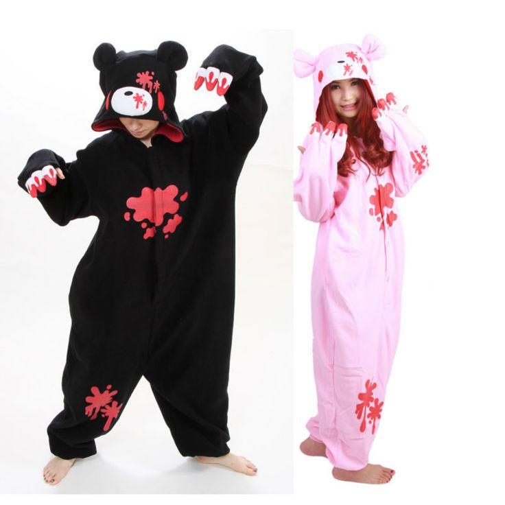 New! 2015 Fashion Animal Anime Cartoon Black/Pink Gloomy Bear Autumn & Winter Hooded Pajamas,Halloween Party Cosplay Costume