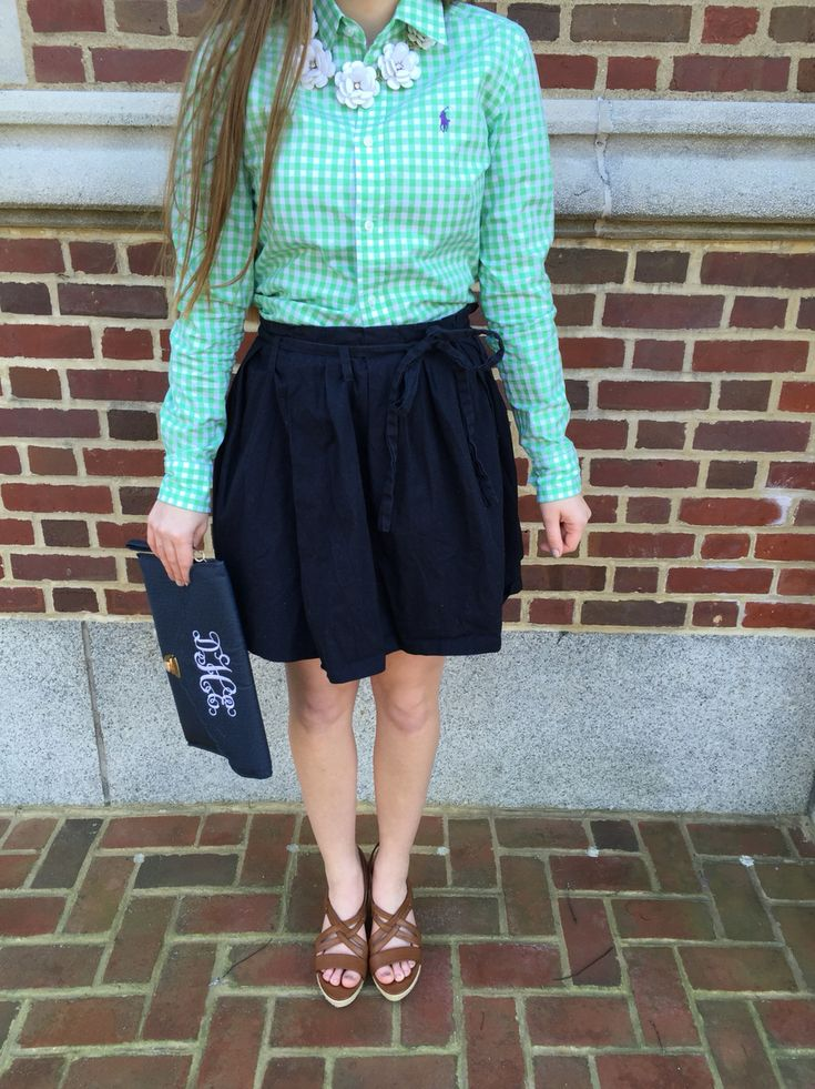 Spring outfit, Polo Oxford with a J Crew Skirt and necklace #preppy