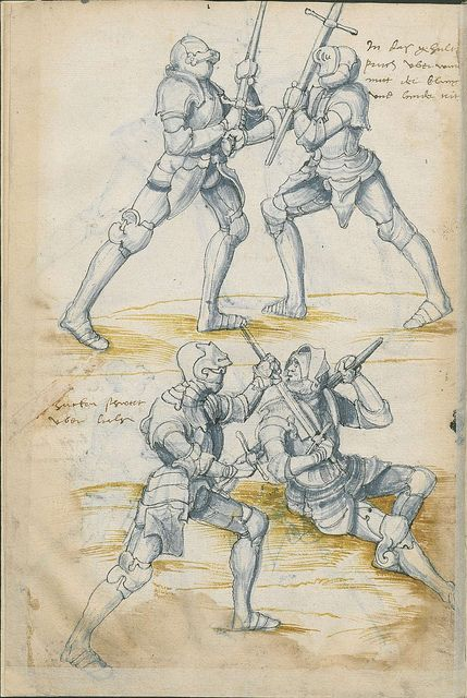 From a 16th century manuscript, 'Fechtbuch: Libr. pict. A 83', depicting medieval hand-and-a-half sword technique