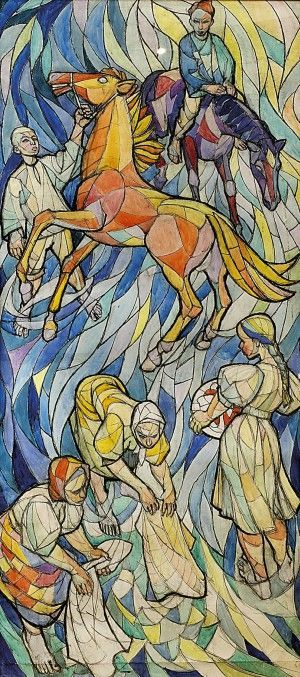 Vincent Hložník (1919-1997) Pri potoku (návrh na vitráž)