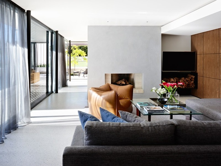 Small black supporting metal posts, for a more floating appearance.   Side ceiling bulkheads with thin openings for cold/warm air ventilation  Grand Designs Australia - Series 2-Episode 1: Brighton Sixties | LifeStyle Channel