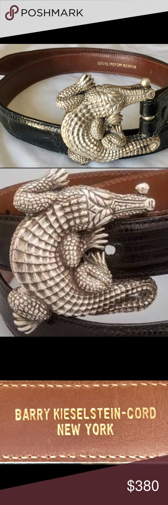 BARRY KIESELSTEIN-CORD Sterling Buckle /Three Belt Impressive AUTHENTIC BARRY KIESELSTEIN CORD STERLING SILVER ALLIGATOR BELT BUCKLE. Serial number 769. This Brilliant Kieselstein comes with THREE BELTS Made For The Buckle. Excellent Condition. WEARABLE ART AND VINTAGE. You will Not see a better price. Barry Kieselstein Cord Accessories Belts