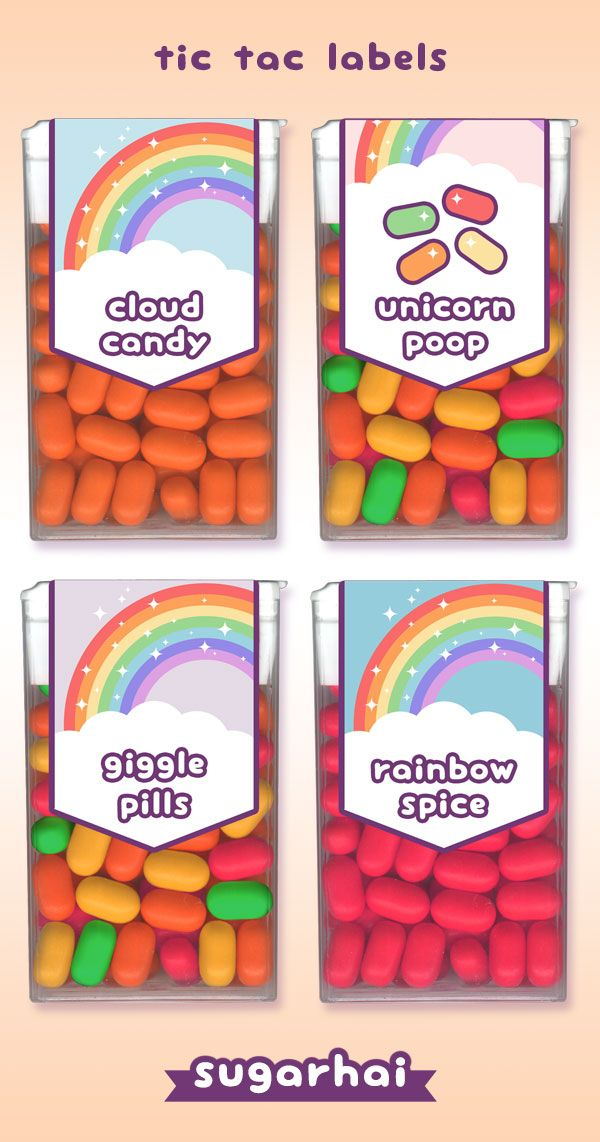 Super cute free printable tic tac labels. Perfect for birthday party favors. Choose from Cloud Candy, Unicorn Poop, Giggle Pills, and Rainbow Spice.
