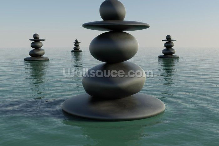 Zen Pebble Stacks wall mural