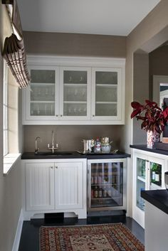 Bar area off a kitchen can accommodate everything needed for various drinks, especially with a small sink, refrigerator and storage for mixers nearby. Description from pinterest.com. I searched for this on bing.com/images