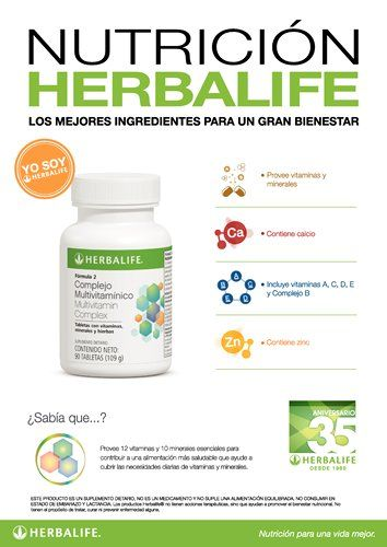 Afiche Nutrición Herbalife - Complejo Multivitamínico, provee 12 vitaminas y 10 minerales esenciales para cubrir una alimentación más saludable que ayude a cubrir las necesidades diarias de vitamimas y minerales.