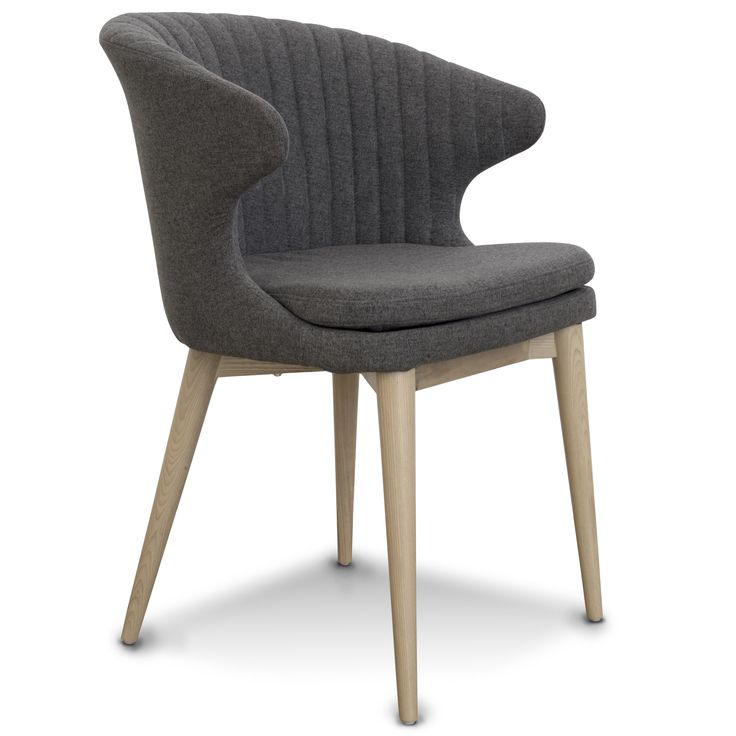 EMPIRE SPISESTUESTOL Flot klassisk spisestuestol med en perfekt siddekomfort Monteret med antracit grå stof, samt understel i massiv hvidolieret ask.
