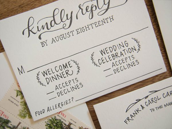 Rustic Hand Lettered Wedding Invitations Wedding