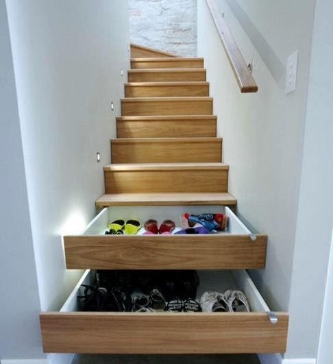 Clever stair-storage idea Nocatee families with two-story homes... perfect for storing shoes & seasonal clothing!