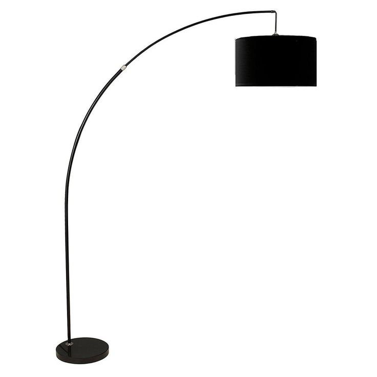 Q Max Extra Large Dark Drum Shade Adjustable Arching Floor Lamp With Weighted Black Marble Base