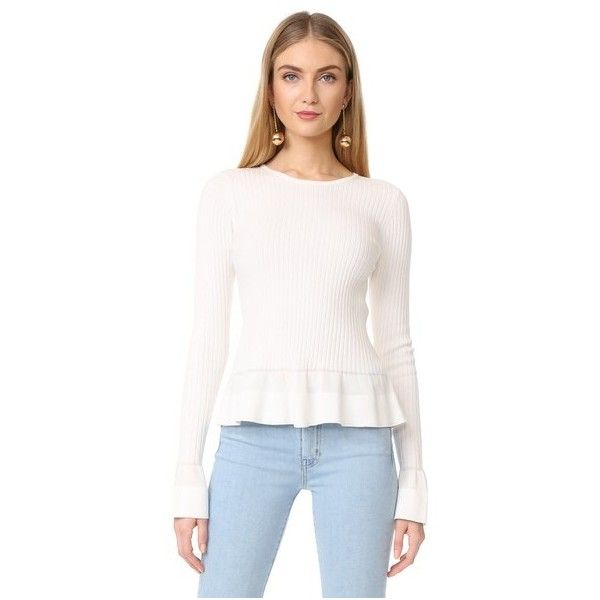 Diane von Furstenberg Knit Peplum Top (326 AUD) ❤ liked on Polyvore featuring tops, sweaters, ivory, long sleeve peplum top, white ruffle top, white long sleeve sweater, peplum tops and white top