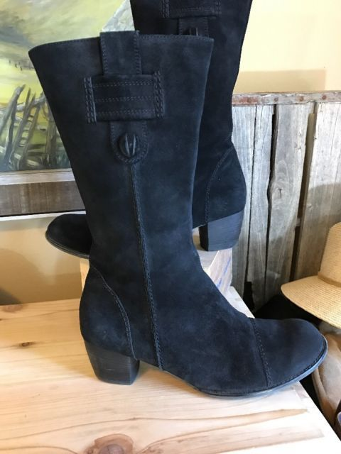 ARA Boots Frances Mid-Calf Boot Women's 9.5 US Black Suede Germany Side Zip | eBay