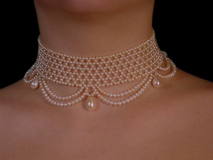 "woven pearl choker with ""drapes"", by Marina J"