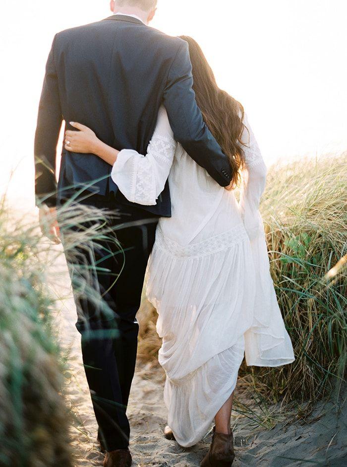 Oregon coast engagement photos. Ethereal white dress.