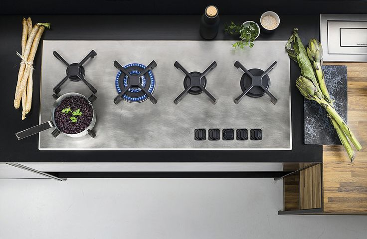 Barazza's 'Unique' 1PUN105 five-burner gas hob has a distressed vintage stainless steel finish, with cast iron pan supports. Price on request. barazzasrl.it/en