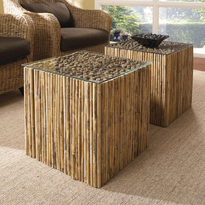 Superb Padmau0027s Plantation Bamboo Stick Bunching Table With Glass Top   Jcpenney
