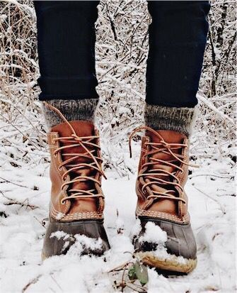 LL Bean boots, wool socks and snow