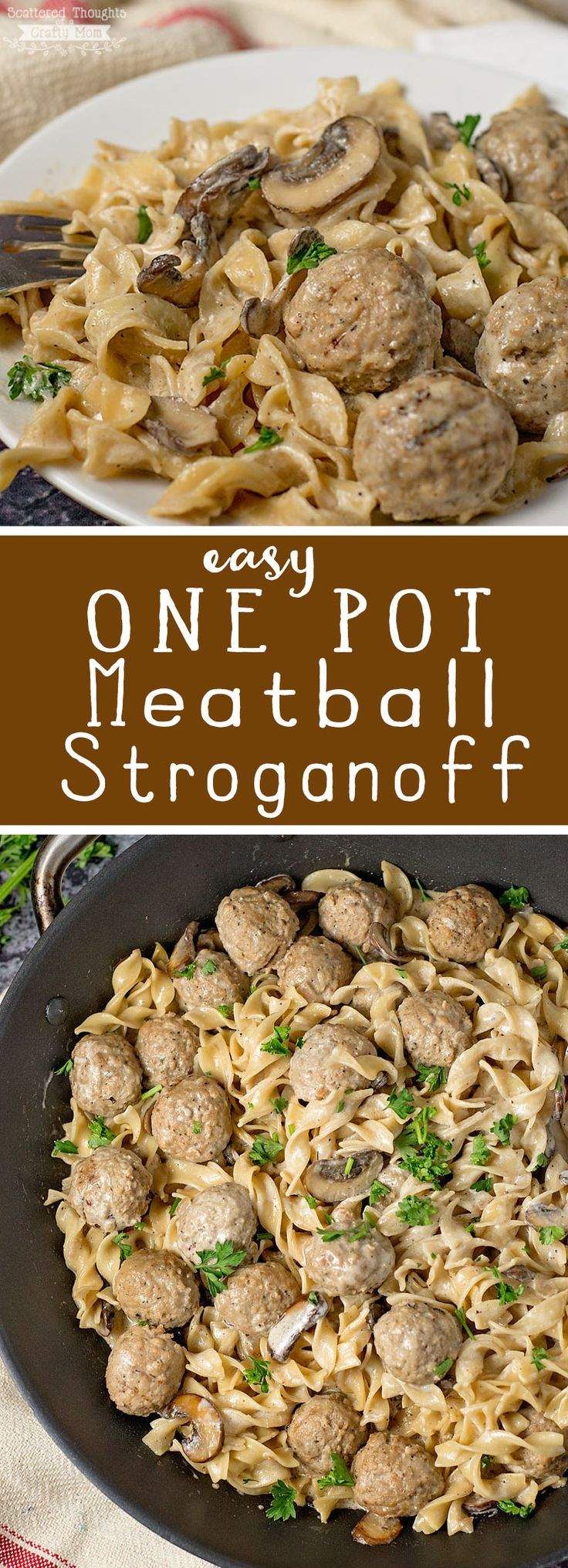 Easy One Pot Meatball Stroganoff (20 Minute Meal)    #20minutemeal #meatball stroganoff