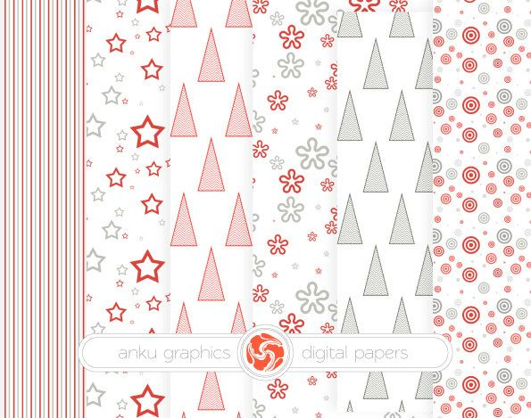 CHRISTMAS PAPER - Red, gray digital paper, pattern, instant download, overlay sheets, photo overlays, background, paper pack by AnkuGraphics on Etsy
