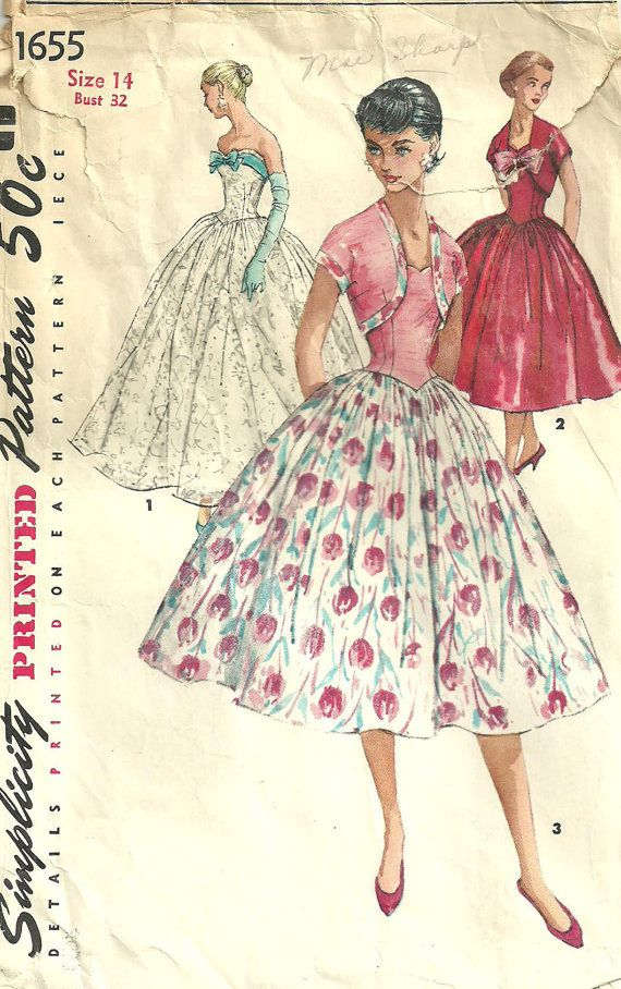 Simplicity 1655 Vintage Fifties Sewing Pattern Dress and Bolero Size ...