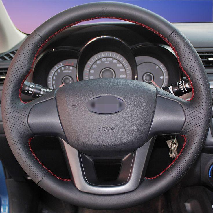 Hand-stitched Black Leather Steering Wheel Cover for Kia K2 Kia Rio 2011-2013