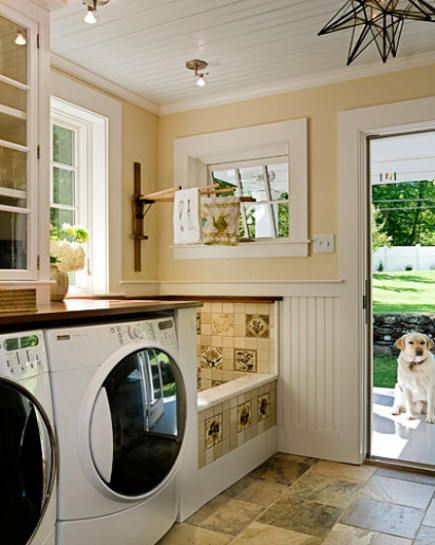 Low tub for washing the dog/rinsing off kids/soaking large items and drip drying over.And right next to the back door to!!!