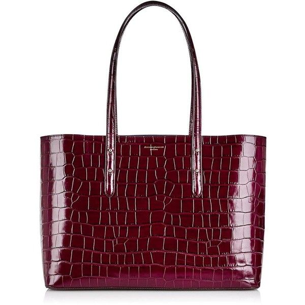 Aspinal Of London Regent Croc Tote (25.230 RUB) ❤ liked on Polyvore featuring bags, handbags, tote bags, burgundy, red leather handbags, laptop tote bag, laptop pouch, leather handbag tote and burgundy leather tote