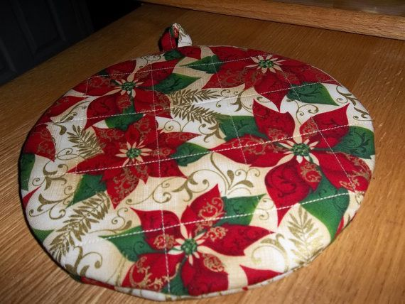 Christmas Red Poinsettia Round Hot Pad or Pot by bestdoilies, $8.00