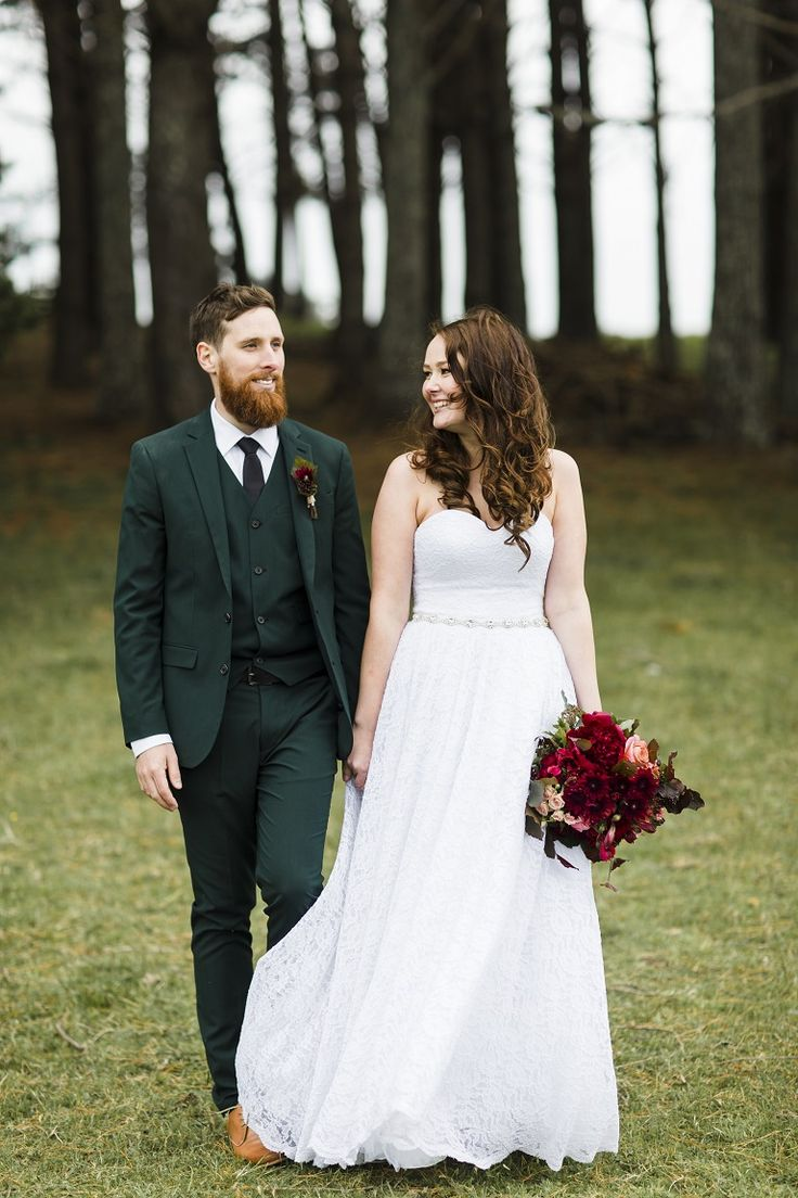 The handsome Ferris couple Adam and Kirsten married on Nov 12 2016. Kirsten is wearing  a beautiful Allen Rich gown from Bridal and Ball NZ