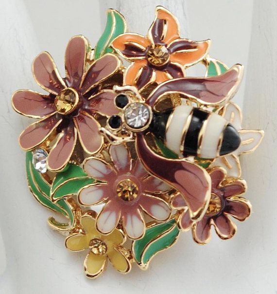Flower Garden Ring/Bee/Rhinestone/Colorful/Statement Ring/Spring/Summer Jewelry/Gift For Her/Adjustable/Under 20 USD