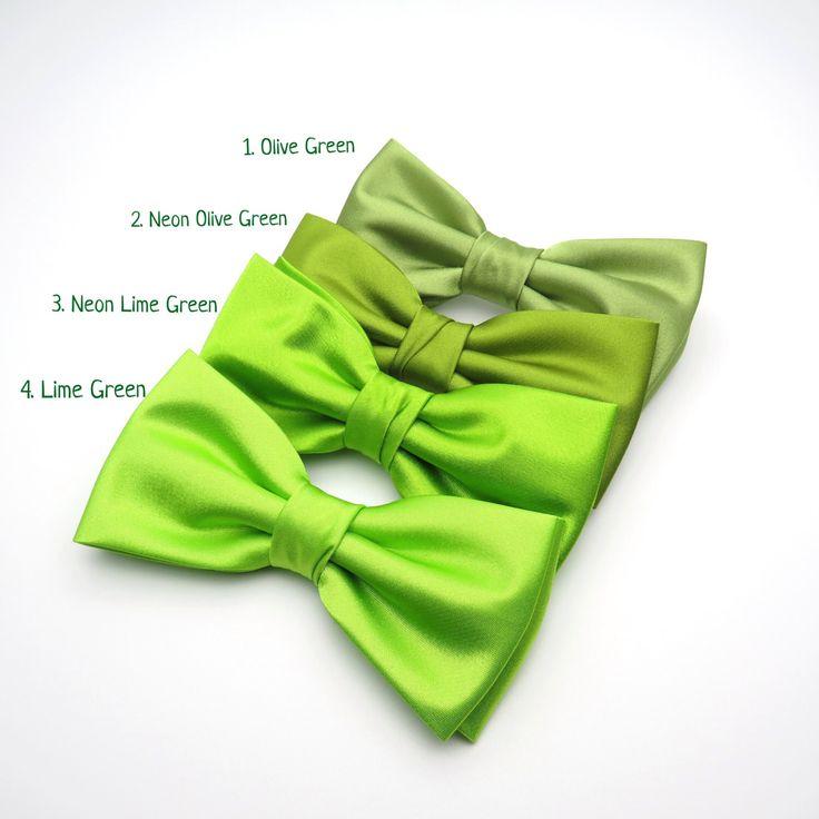 Wedding Bow Tie | Mens Satin Bow Tie | Solid Green Bow Tie | Neon Green Lime Green Olive Green Bow Tie Groom Groomsmen Boy Baby Shower Gift by GloiberryBowtie on Etsy https://www.etsy.com/uk/listing/467693426/wedding-bow-tie-mens-satin-bow-tie-solid