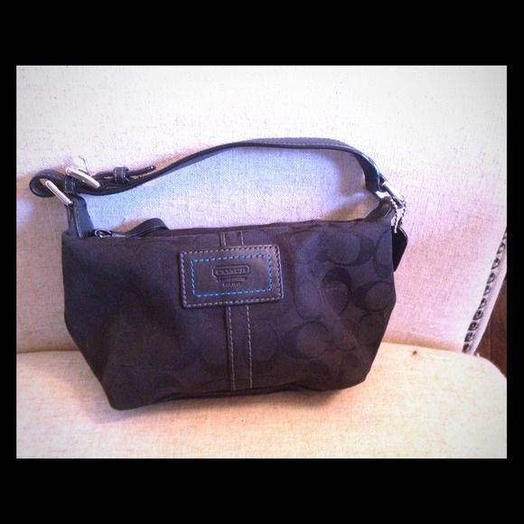 Black Coach purse handbag Authentic Small black Coach handbag with logo, teal interior with side pocket Coach Bags