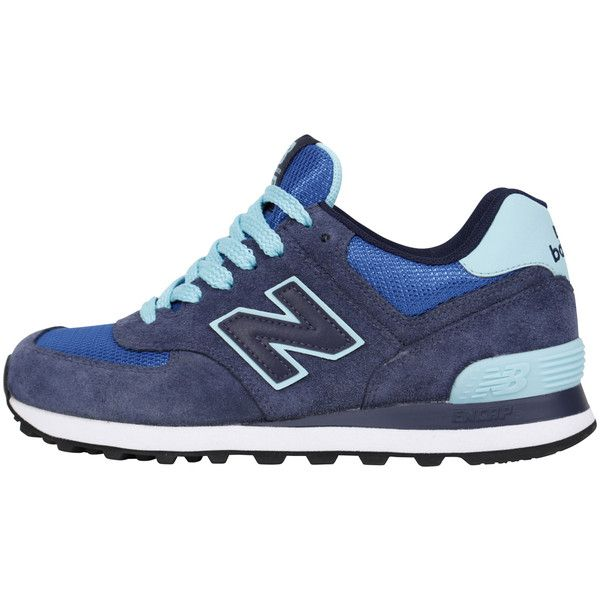 New Balance 574 Womens - Navy/Turquoise ($43) ❤ liked on Polyvore featuring shoes, new balance, navy shoes, turquoise shoes, navy blue shoes and new balance footwear